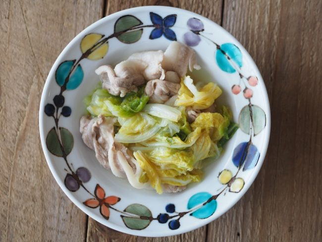 白菜と豚肉の蒸し煮で風邪対策